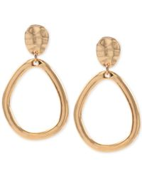 Anne Klein - Hammered-style Clip-on Drop Hoop Earrings - Lyst