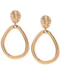Anne Klein - Hammered-style E-z Comfort Clip-on Drop Hoop Earrings - Lyst