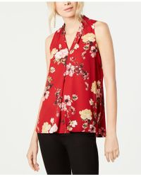 Vince Camuto - Printed Pleat-detail Top, Created For Macy's - Lyst