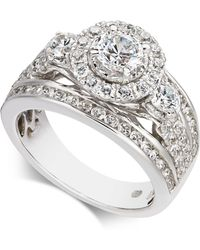 Macy's - Diamond Halo Engagement Ring (2 Ct. T.w.) In 14k White Gold - Lyst