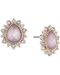 Marchesa - Gold-tone Stone & Crystal Stud Earrings - Lyst