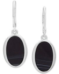 Nine West - Silver-tone & Stone Oval Drop Earrings - Lyst