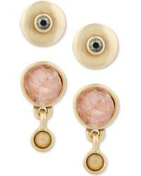 Lucky Brand - Gold-tone 2-pc. Set Crystal & Druzy Stone Stud Earrings - Lyst