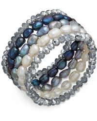 Macy's - 5-pc. Set White, Grey & Peacock Cultured Freshwater Baroque Pearl (7mm) And Rondel Crystal Stretch Bracelets - Lyst