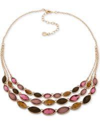 "Anne Klein - Gold-tone Stone Triple-row Statement Necklace, 16"" + 3"" Extender - Lyst"