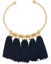 Trina Turk - Gold-tone Navy Tassel Collar Necklace - Lyst