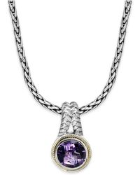 Effy Collection - Amethyst Round Pendant (3-3/8 Ct. T.w.) In 18k Gold And Sterling Silver - Lyst