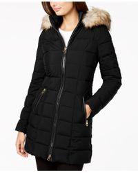 Laundry by Shelli Segal - Mixed-media Hooded Puffer Coat - Lyst