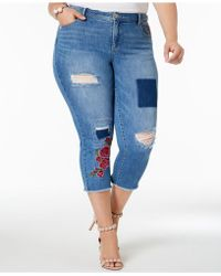 INC International Concepts - I.n.c. Plus Size Patched Cropped Jeans, Created For Macy's - Lyst