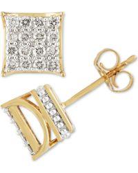 Macy's - Diamond Square Cluster Stud Earrings (1/2 Ct. T.w.) In 10k Gold - Lyst