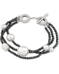 Majorica - Two-tone Sterling Silver Imitation Pearl Multi-row Bracelet - Lyst