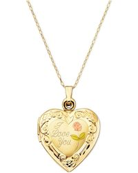 Macy's - 14k Gold Necklace, I Love You Reversible Locket - Lyst