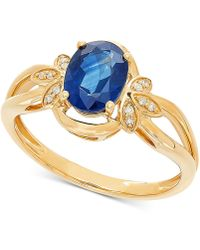 20b540f93940 Macy's Sapphire (1 Ct. T.w.) And Diamond (1/8 Ct. T.w.) Ring In 14k White  Gold in Metallic - Save 40% - Lyst