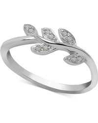 Macy's - Diamond Leaf Vine Ring (1/10 Ct. T.w.) In Sterling Silver - Lyst