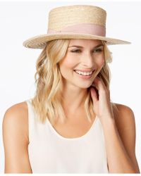 Nine West - Woven Boater Hat - Lyst