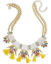 "INC International Concepts - I.n.c. Gold-tone Stone, Crystal & Tassel Statement Necklace, 18"" + 3"" Extender, Created For Macy's - Lyst"
