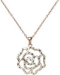 "Giani Bernini - Openwork Rose 18"" Pendant Necklace In Sterling Silver & 18k Rose Gold-plated Sterling Silver, Created For Macy's - Lyst"
