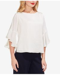 Vince Camuto - Ruffled Elbow-sleeve Satin Top - Lyst