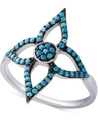 Macy's - Sterling Silver Manufactured Turquoise Flower Ring - Lyst
