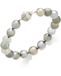 Macy's - Cultured Tahitian Pearl (8-10mm) Bracelet In 14k White Gold - Lyst