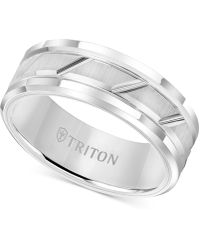 Triton - White Tungsten Carbide Ring, 8mm Diamond-cut Wedding Band - Lyst