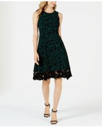 Donna Ricco - Flocked Velvet A-line Dress - Lyst