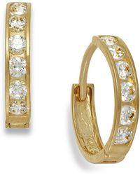 Macy's - Cubic Zirconia Hoop Earrings In 10k Gold - Lyst