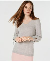 Charter Club - Pure Cashmere V-neck Tie-sleeve Sweater In Regular & Petite Sizes, Created For Macy's - Lyst