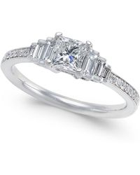 Macy's - Diamond Princess Cut Engagement Ring (3/4 Ct. T.w.) In 14k White Gold - Lyst