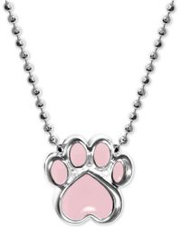 "Alex Woo - Pink Enamel Activist Paw Print 16"" Pendant Necklace In Sterling Silver - Lyst"