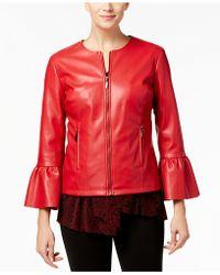 Alfani - Faux-leather Ruffle-sleeve Coat - Lyst