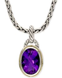 Effy Collection - Amethyst Pendant Necklace In 18k Gold And Sterling Silver (5-3/4 Ct. T.w.) - Lyst