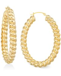 Signature Gold - Ribbed Hoop Earrings In 14k Gold - Lyst