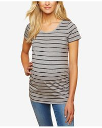 76e71f3460328 Vince Camuto Short Sleeve Feather Trim T-shirt (plus Size) in Gray - Save  67% - Lyst