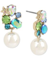 Betsey Johnson - Gold-tone Crystal Cluster Pearl Drop Earrings - Lyst