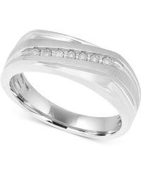 Macy's - Men's Diamond Diagonal Ring (1/10 Ct. T.w.) In 10k White Gold - Lyst