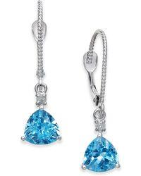 Macy's   Blue Topaz (2 Ct. T.w.) & Diamond Accent Drop Earrings In 14k White Gold   Lyst