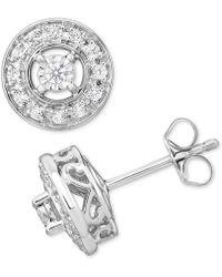 Macy's | Diamond Halo Stud Earrings (1/3 Ct. T.w.) In 10k Gold | Lyst
