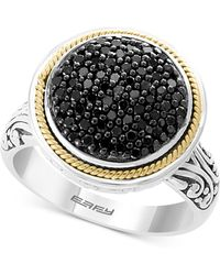Effy Collection - Diamond Round Cluster Filigree Ring (3/8 Ct. T.w.) In Sterling Silver And 18k Gold - Lyst