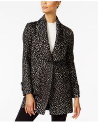 Kenneth Cole - Leopard-print Shawl-collar Walker Coat - Lyst