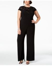 1d0d53478330 Lyst - Adrianna Papell Ap1e201490 Sequined Jersey Jumpsuit in Black