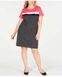 404a9ae38899 Karen Scott - Plus Size Short-sleeve Striped Dress, Created For Macy's -  Lyst