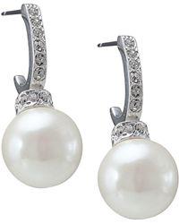 Carolee - Earrings, Pave Crystal Hoop And Pearl Drop - Lyst
