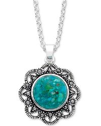 """Macy's - Marcasite & Manufactured Turquoise Filigree 18"""" Pendant Necklace In Fine Silver-plate - Lyst"""