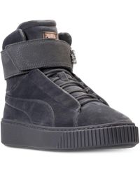 a6d18b3e2a6 PUMA - Women s Suede Platform Mid Velour Casual Sneakers From Finish Line -  Lyst