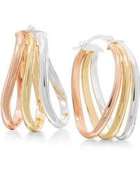 Macy's - Tri-tone Oval Hoop Earrings In Sterling Silver And 18k Gold-plated And Rose Gold-plated Sterling Silver - Lyst
