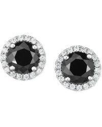 Arabella - Zirconia Halo Stud Earrings In Sterling Silver - Lyst