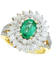 Rare Featuring Gemfields - Certified Emerald (9/10 Ct. T.w.) And Diamond (1-5/8 Ct. T.w.) Ring In 14k Gold - Lyst