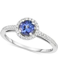 Macy's - Tanzanite (1/2 Ct. T.w.) & Diamond (1/6 Ct. T.w.) Ring In 14k White Gold - Lyst