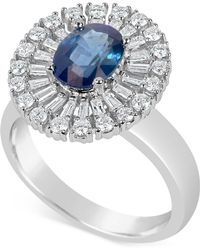 Macy's - Sapphire (1-1/2 Ct. T.w.) And Diamond (5/8 Ct. T.w.) Ring In 14k White Gold - Lyst
